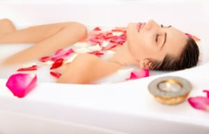milk and rose petals bath